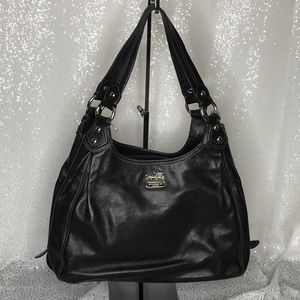COACH Black Leather Shoulder Handbag Medium Size